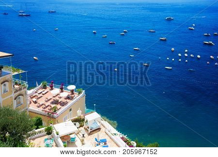 Tyrrhenian Sea waters near Positano, aerial view , Amalfi coast Italy, retro toned