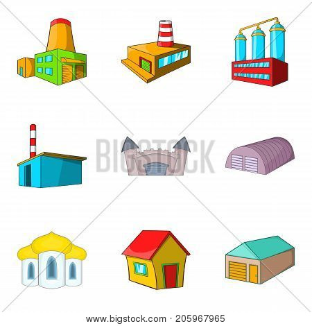 Urban factory icons set. Cartoon set of 9 urban factory vector icons for web isolated on white background