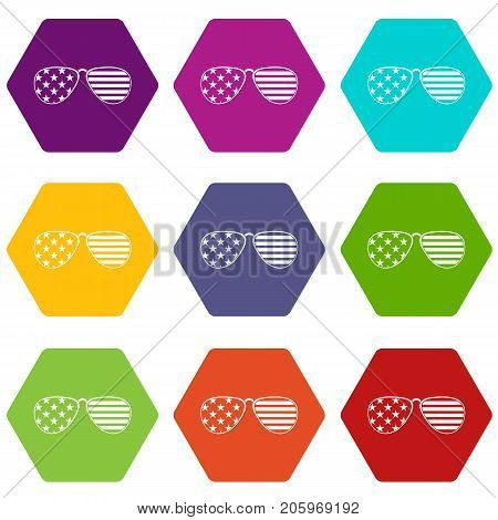 American glasses icon set many color hexahedron isolated on white vector illustration
