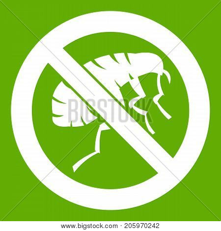 Etching insect icon white isolated on green background. Vector illustration