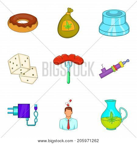 Detrimental icons set. Cartoon set of 9 detrimental vector icons for web isolated on white background