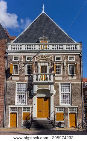 HAARLEM, NETHERLANDS - SEPTEMBER 03, 2017: Historic building at the central market square of Haarlem Netherlands