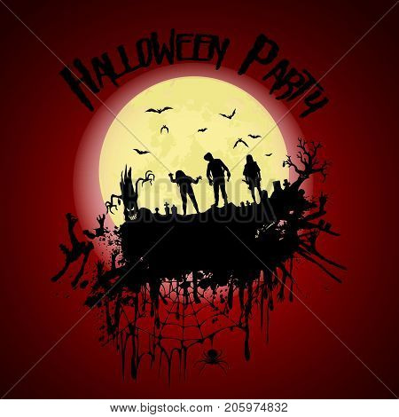 Halloween Party.zombie, Cemetery, Creepy Trees And A Full Moon. Halloween Poster. Vector Illustratio