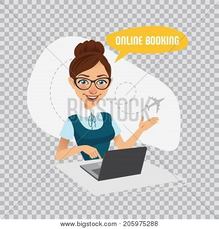 Online booking banner on transparent background. Online booking service. Air Tickets Online Booking. Online Flight Booking. Woman sitting at table in office and selling tickets.
