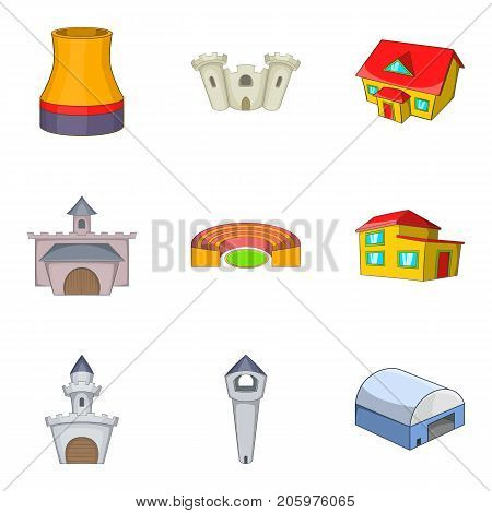Chateau icons set. Cartoon set of 9 chateau vector icons for web isolated on white background