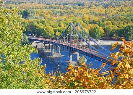 KIEV UKRAINE-October 15 2009:Pedestrian bridge across the Dnieper in Kiev.Built in 1956-1957