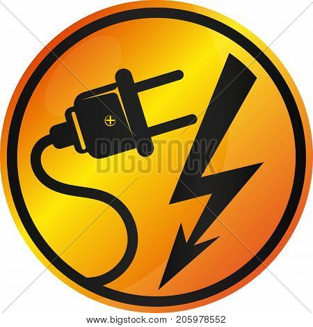 Electricity sign vector plug and lightning electrification