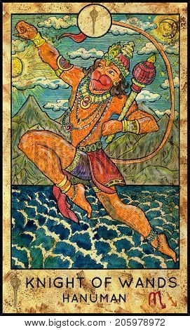 Hanuman. Hindu monkey god. Knight of wands. Fantasy Creatures Tarot full deck. Minor arcana. Hand drawn graphic illustration, engraved colorful painting with occult symbols