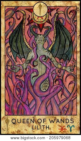 Lilith vampire. Queen of wands. Fantasy Creatures Tarot full deck. Minor arcana. Hand drawn graphic illustration, engraved colorful painting with occult symbols. Halloween background