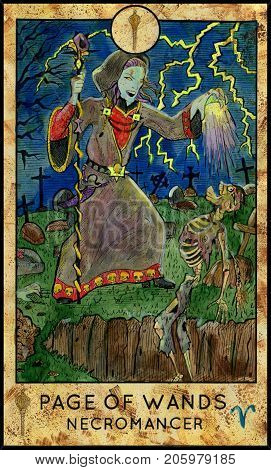 Necromancer of warlock. Page of wands. Fantasy Creatures Tarot full deck. Minor arcana. Hand drawn graphic illustration, engraved colorful painting with occult symbols. Halloween background