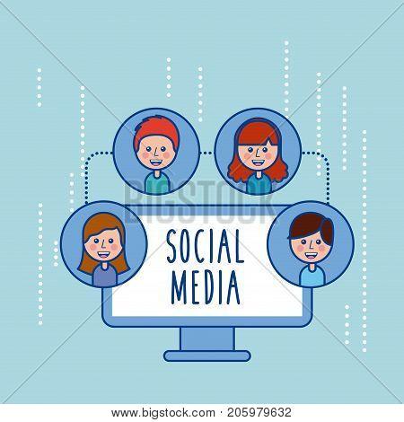 social media group people connection sharing social media vector illustration