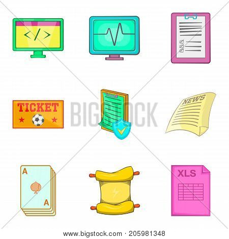 Scroll icons set. Cartoon set of 9 scroll vector icons for web isolated on white background