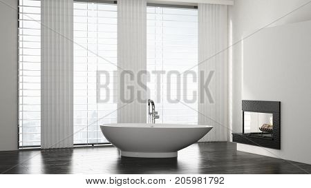 Minimalist spacious modern bathroom interior with boat shaped bathtub in front of long windows with a fire insert in the wall. 3d Rendering.