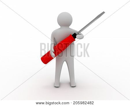 3d man with screw-driver 3d rendered illustration