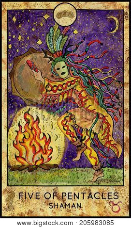 Shaman. Five of pentacles. Fantasy Creatures Tarot full deck. Minor arcana. Hand drawn graphic illustration, engraved colorful painting with occult symbols