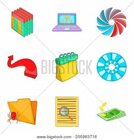 Timetable icons set. Cartoon set of 9 timetable vector icons for web isolated on white background