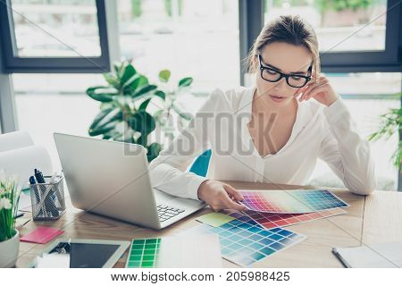 Successful Attractive Business Lady Designer Is Sitting At Office, In Formal Wear, Fashionable Spect