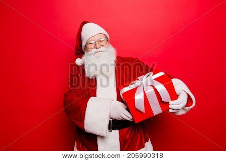 Happiness, Noel, Festive Seosonal Occasion. Funny Saint Nicholas In Red Traditional Fur Coat And Hea