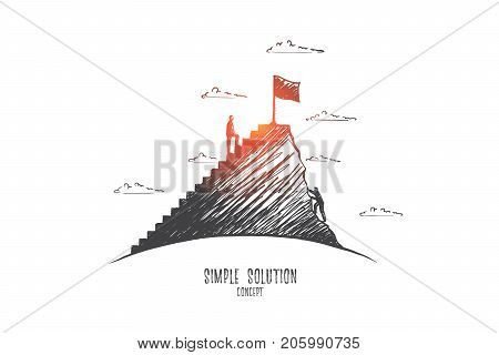 Simple solution concept. Hand drawn man climbs the stairs. Smart person trying to make right decision isolated vector illustration.