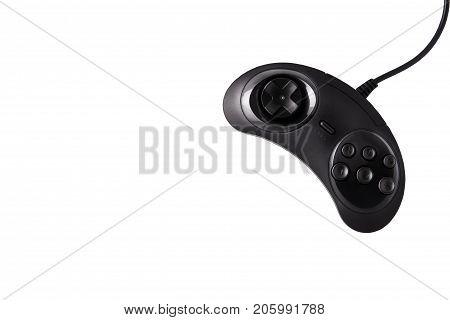 Stylish black joystick on a white background. Video game console GamePad on a white background. Isolated on white
