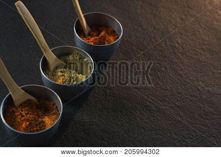 Close-up of various spices powder in bowl