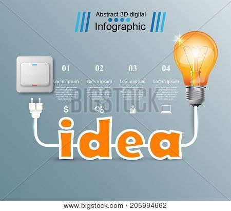 Bulb, Light, switch, on off idea infographic Vector eps 10