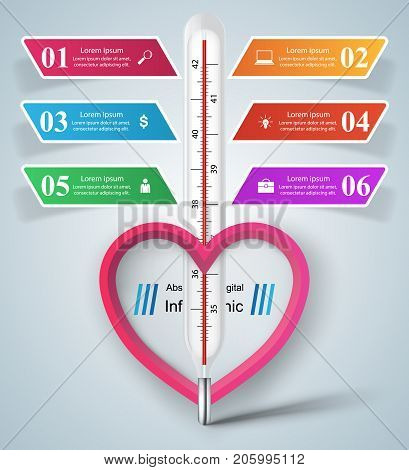 Business illustration of a thermometer.Heart,  Health and temperature. Vector, eps 10
