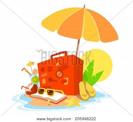 Vector Creative Illustration Of A Sandy Island In The Ocean With A Parasol, An Suitcase, Book And Su