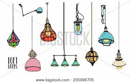 Collection of different colored loft lamps or light fixtures isolated on white background. Hand drawn old-fashioned ceiling lightings, retro home interior decorations. Colorful vector illustration