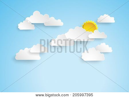 Blue sky with clouds.paper cut style.Sunrise with clouds.