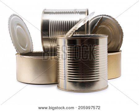 Empty metal tin on white background