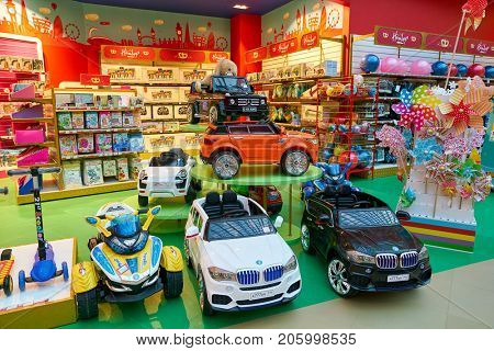 SAINT PETERSBURG, RUSSIA - CIRCA AUGUST, 2017: goods on display at a toy store at Galeria shopping center. Galeria is major shopping and entertainment center is located in downtown of St. Petersburg