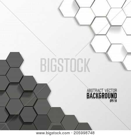 Geometric abstract mosaic background with gray and white 3d hexagons vector illustration