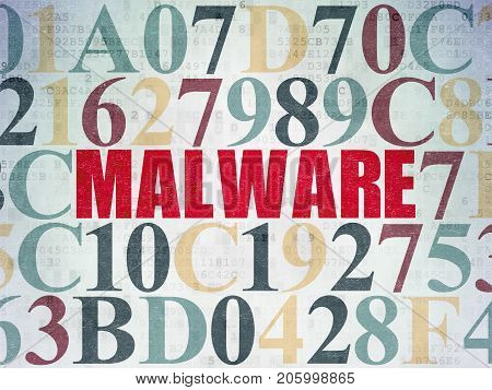 Privacy concept: Painted red text Malware on Digital Data Paper background with Hexadecimal Code