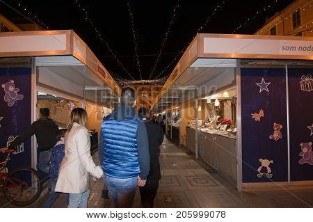 Vendor Booths And Festive Lights