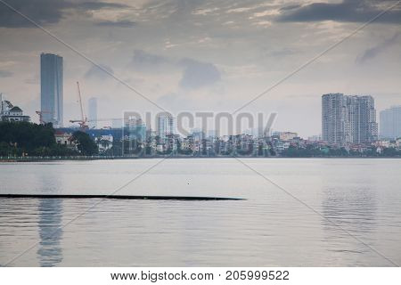 view over Truc Bach lake in the center of the capital of Vietnam Hanoi city