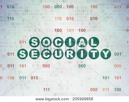 Safety concept: Painted green text Social Security on Digital Data Paper background with Binary Code