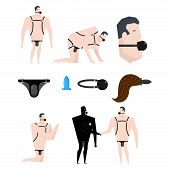 BDSM slave set. Gag in mouth. Adult sexual games. Humiliation and domination. Vector illustration. poster