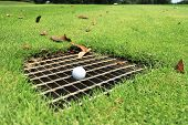 Golf Ball on the Drainage Screen in Fairway Immovable Obstruction Rule 24 poster