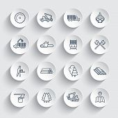 Logging line icons, sawmill, forestry equipment, logging truck, tree harvester, timber, wood, lumber, linear icons on round 3d shapes, vector illustration poster
