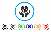 Cardiology Care Hands rounded icon. Style is a flat cardiology care hands grey symbol inside light blue circle with black, gray, green, blue, red, orange variants. poster
