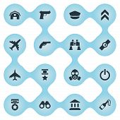 Elements Pursuit Plane, Revolver, Aircraft And Other Synonyms Fire, Tribunal And Plane.  Vector Illustration Set Of Simple Battle Icons. poster