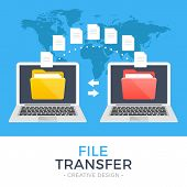 File transfer. Two laptops with folders on screen and transferred documents. Copy files, data exchange, backup, PC migration, file sharing concepts. Flat design graphic elements. Vector illustration poster