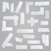 White adhesive tape various pieces with wrinkles, curved and torn edges isolated realistic vector illustrations set. Different size, glued at angles, cut off strips of sticky tape element collection poster