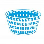 silhouette basket to dirty clothes and domestic housework vector illustration poster