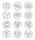 Zodiac vector astrology vector line icons. Aries and taurus, gemini and cancer, leo and virgo, libra and scorpio, sagittarius and capricorn, aquarius and pisces signs. Horoscope line style symbols Illustration poster