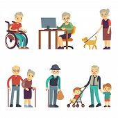 Old age people in different situations. Senior man and woman activities vector set. Old grandmother and grandfather walking illustration poster