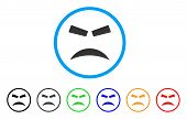Furious Smile rounded icon. Style is a flat furious smile gray symbol inside light blue circle with black, gray, green, blue, red, orange variants. Vector designed for web and software interfaces. poster