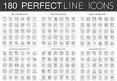 180 outline mini concept icons symbols of seo optimization, web development, digital marketing, network technology, cyber security, human productivity icon isolated. poster