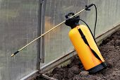 Spray pesticides for the treatment of plantsgarden tools object poster